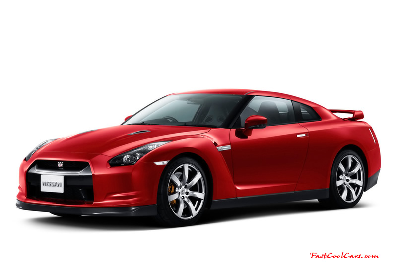 2008 Nissan GT-R - the brand new 3.8-liter twin turbo V6 VR38DETT engine is specially developed for the Nissan GT-R. It produces  473 bhp at 6400rpm and maximum torque of 434 lb/ft from 3200 to 5200rpm. This makes the Nissan GT-R one of the most powerful Japanese road cars and the most powerful production car ever built by Nissan. Sporty Red Color
