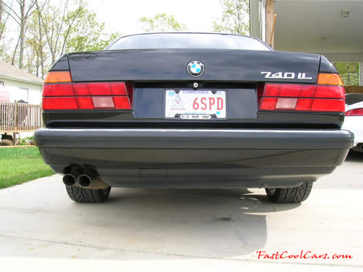 1994 BMW 740iL with chrome 19 inch M-Parallel wheels, what a rear end view.