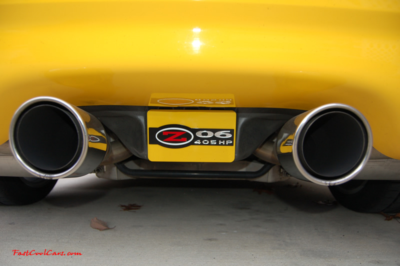 2002 Millennium Yellow Z06 Corvette - 405 HP Stock, at new home in Cleveland, Tennessee, Borla sual Stinger exhaust, and rear exhaust plate.