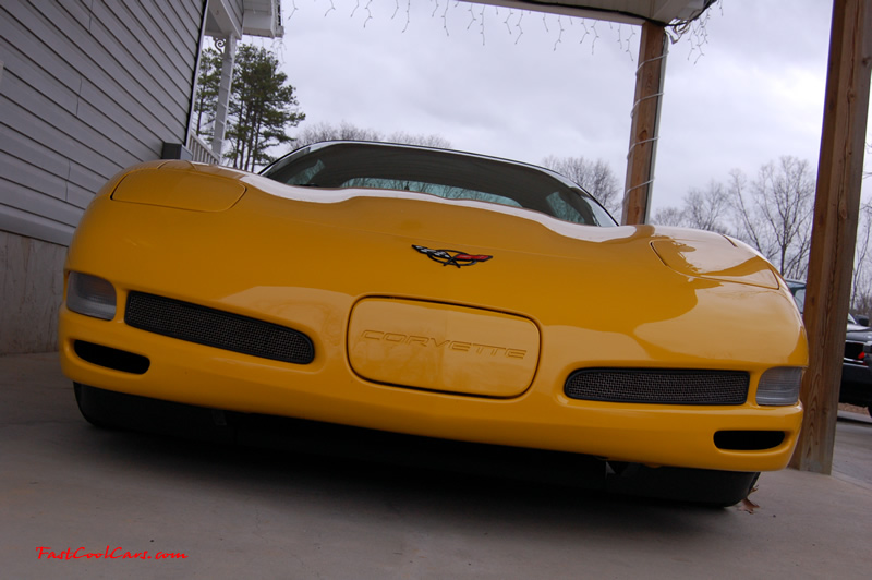2002 Millennium Yellow Z06 Corvette - 405 HP Stock, at new home in Cleveland, Tennessee, nice front view, with working functional front brake ducts to draw in fresh cool air for cooling the front brakes.