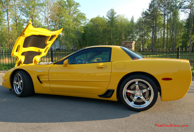 2002 Millennium Yellow supercharged & methanol injected Z06 Corvette, with many modifications, over 50 grand invested in the past 2+ years, for sale $38,000 what a deal. 555 HP | 565TQ - Polished blower, love the polished blower sticking up out of the engine bay area in this shot.