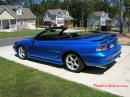 1998 Mustang Cobra Convertible - 1 of 223 - Electric blue, with top down, and new top cover.