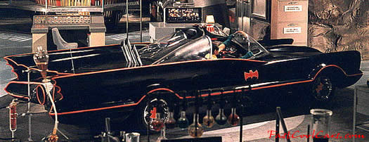 The Original Batmobile from the series in 1966-68 TV series, sitting in the Bat Cave