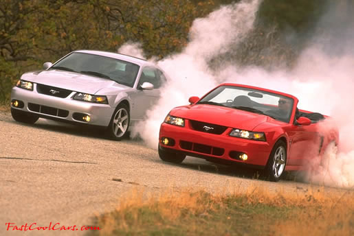 A pair of 2003 Ford Mustang Cobras doing burnouts