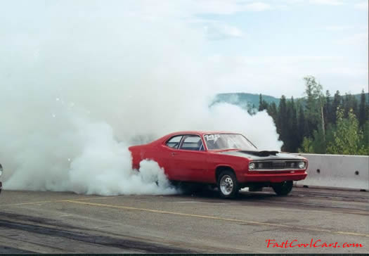 Plymouth Duster doing huge burnout