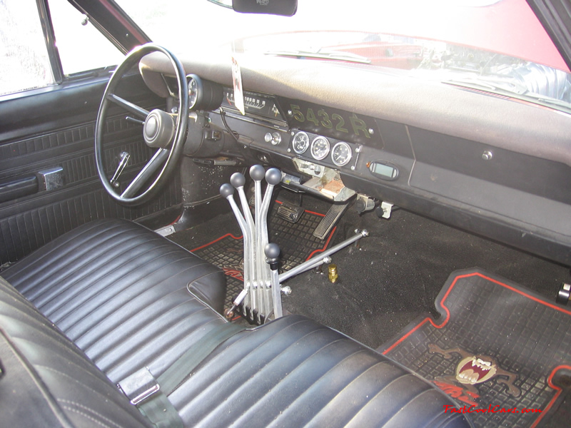 1969 Dodge Dart Hemi. Blown V8 - Red, black interior, lightning rod shifters, dual quad carbs.