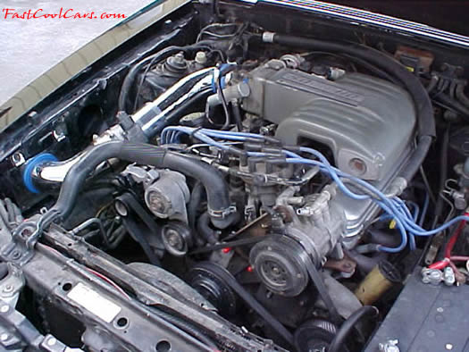 1991 Ford LX Mustang coupe - 5.0 H.O. - 5 Speed, MAC chrome cold air intake, with K&N air filter, crank under drive pulley