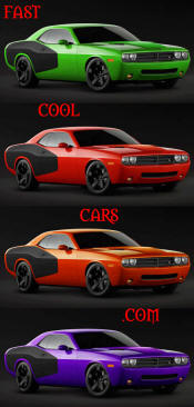 New Dodge Challenger, 6.1 V8 Hemi, 425 crank horsepower, 420 crank foot pounds of torque. SRT8, in four different colors.