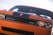 New Dodge Challenger, 6.1 V8 Hemi, 425 crank horsepower, 420 crank foot pounds of torque. SRT8, killer front grill.