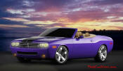 New Dodge Challenger, 6.1 V8 Hemi, 425 crank horsepower, 420 crank foot pounds of torque. SRT8, convertible, and plume crazy purple paint.