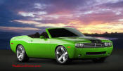 New Dodge Challenger, 6.1 V8 Hemi, 425 crank horsepower, 420 crank foot pounds of torque. SRT8, convertible, with lime green custom paint job.