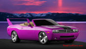 New Dodge Challenger, 6.1 V8 Hemi, 425 crank horsepower, 420 crank foot pounds of torque. SRT8, custom purple paint job, and Daytona 500 style rear spoiler.